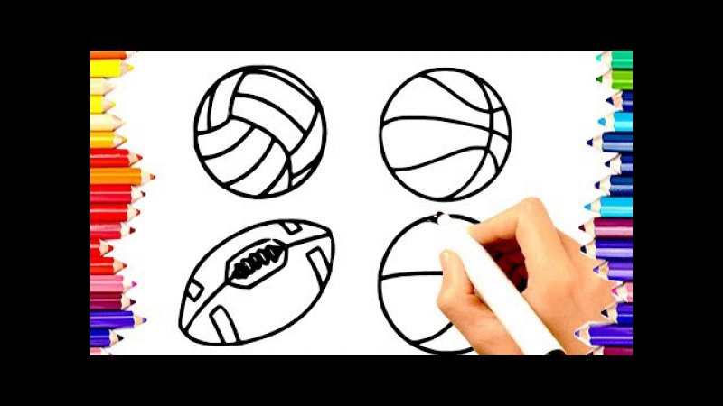 🏀🏈LEARN TO DRAW PAINT VOLLEYBALL, BASKETBALL, FOOTBALL, BEACH BALL COLORING PAGES FOR KIDS 60