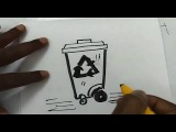 how to draw recycle dustbin with wheels ? drawing, sketch, art lessons, quick draw lessons for kids