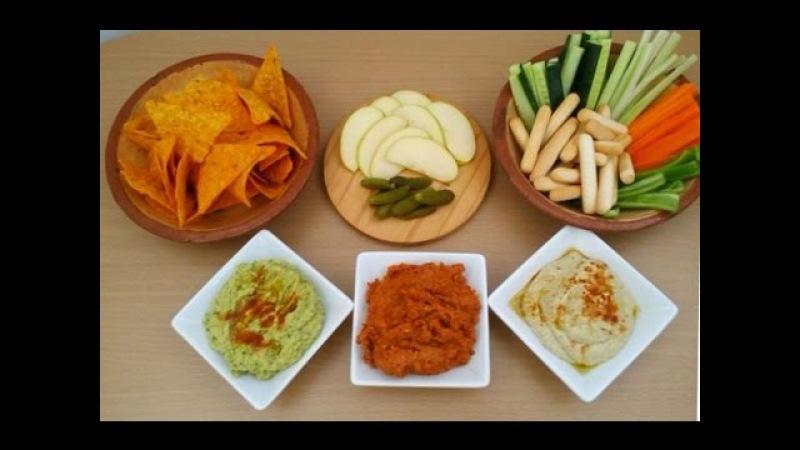 Patés vegetales humus baba ganoush y pate de tomate seco