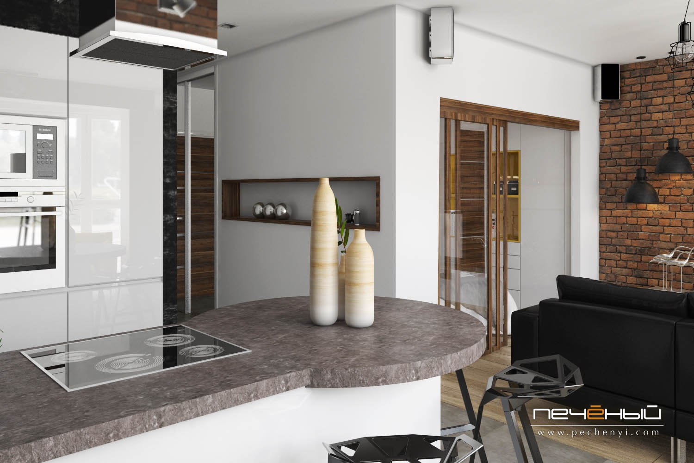 Проект студии 46 м из однокомнатной квартиры.