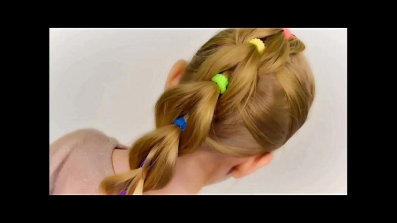 Пышная коса из цветных резинок без плетения