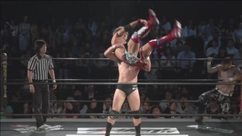 Dave Crist, Diego vs. New Wrestling Aidoru (MAO, Shunma Katsumata) (DDT - Beer Garden Fight 2017 ~ DDT Day ~)