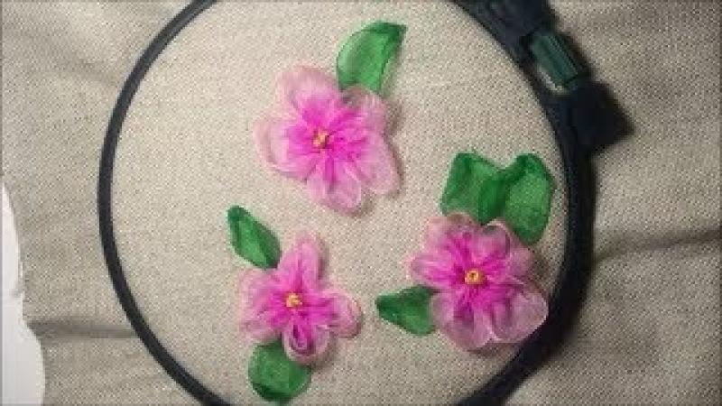 Цветок из капроновой ленты / Flower of nylon ribbon
