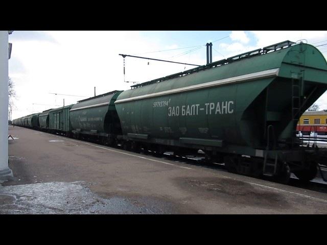Тепловоз 2ТЭ116-1566 с грузовым поездом следует по станции Луга