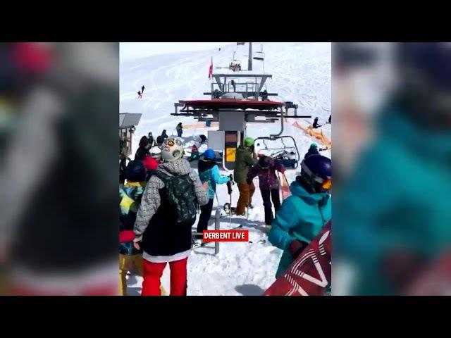 Грузия на Горнолыжном курорте Гудаури сломался подъемник