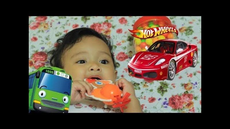 Mainan Anak Ayam Turun Berkotek Main Tayo dan Bermain Mobil Hot Wheels Warna Hitam