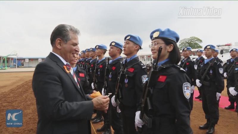 Китайский отряд полицейских-миротворцев в Либерии наградили медалями ООН