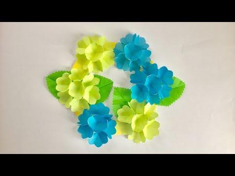 【折り紙】ポップアップあじさいの爽やかリース Hydrangea Wreath