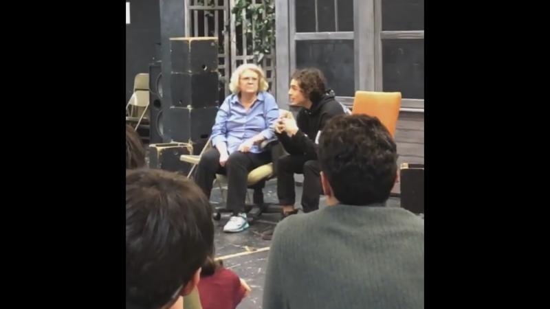Тимоти выступает в Высшей школе искусств имени Фьорелло Ла Гуардия (Нью-Йорк, 12.02.2018)
