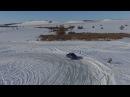 На сноуборде за Субару Импреза wrx по замершему озеру