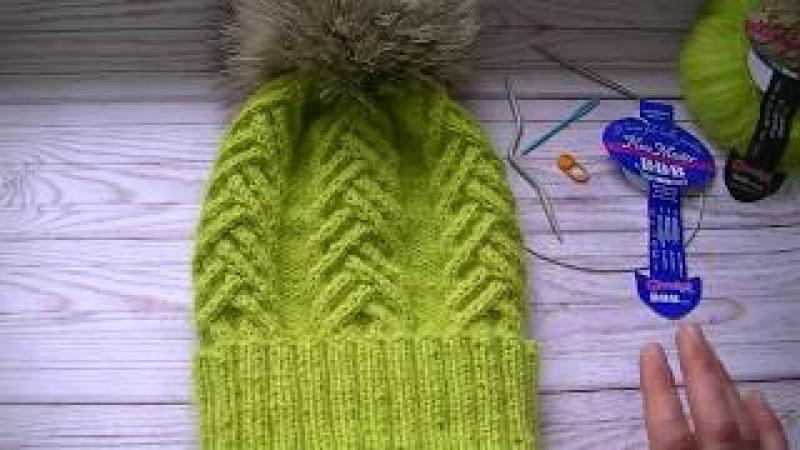 Вязание шапки узором коса -колосок
