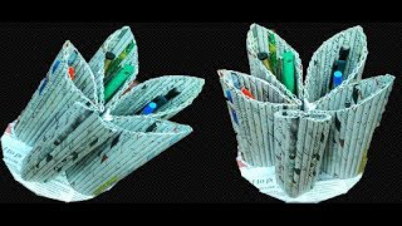 Multipurpose organiser with newspaper Best out of Waste How to make Pen Stand Art with Neha 93
