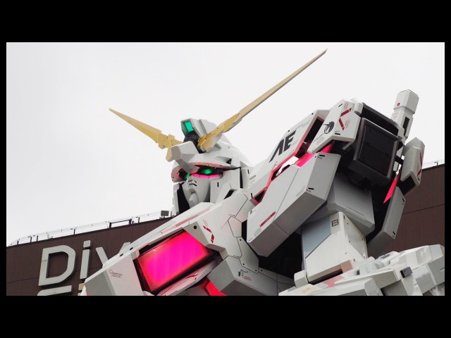 Life Size Gundam Unicorn 1:1 Statue Destroy Mode Transformation - DiverCity Tokyo Japan 2017