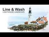 Pen and Ink with Watercolor - Line and Wash Lighthouse Landscape