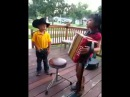 Talented kids singing playing accordion!