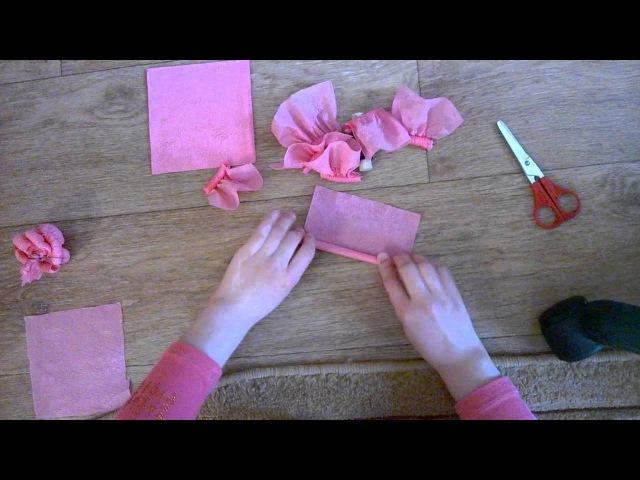Как сделать розочки из салфеток!)