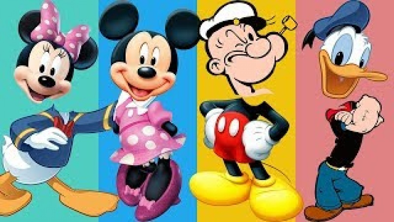 Wrong Heads Minnie Mickey Mouse Popeye Duck Finger Family Learn Colors Nursery Rhyme For Kids