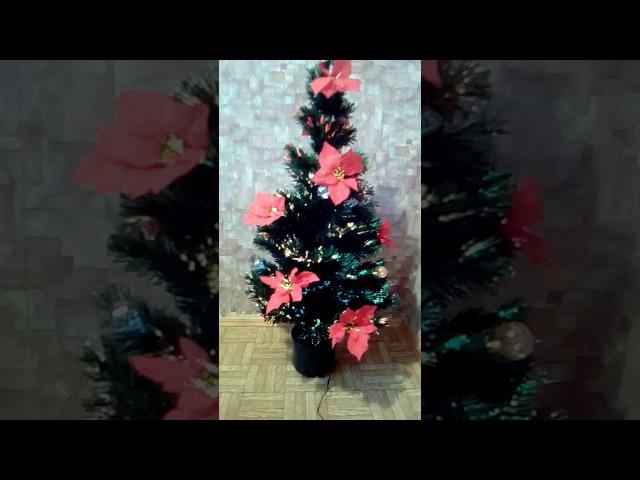 Ёлка искуственная (светящаяся)120см с цветами рождественника 2