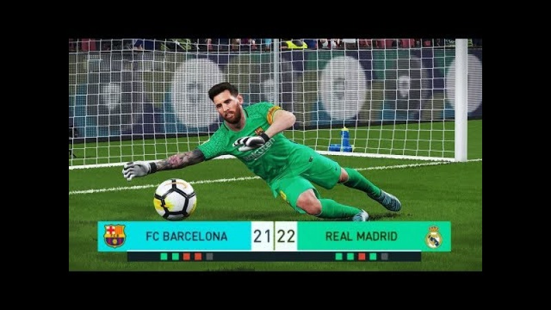 PES 2018   goalkeeper L.MESSI vs goalkeeper C.RONALDO   Penalty Shootout   Barcelona vs Real Madrid