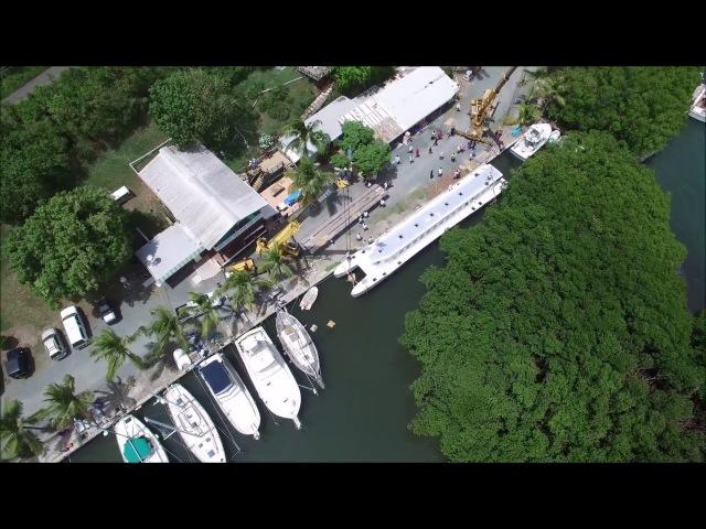 Launching the new STX to STT QE4 Inter Island Ferry at Gold Coast Yachts, St. Croix, USVI