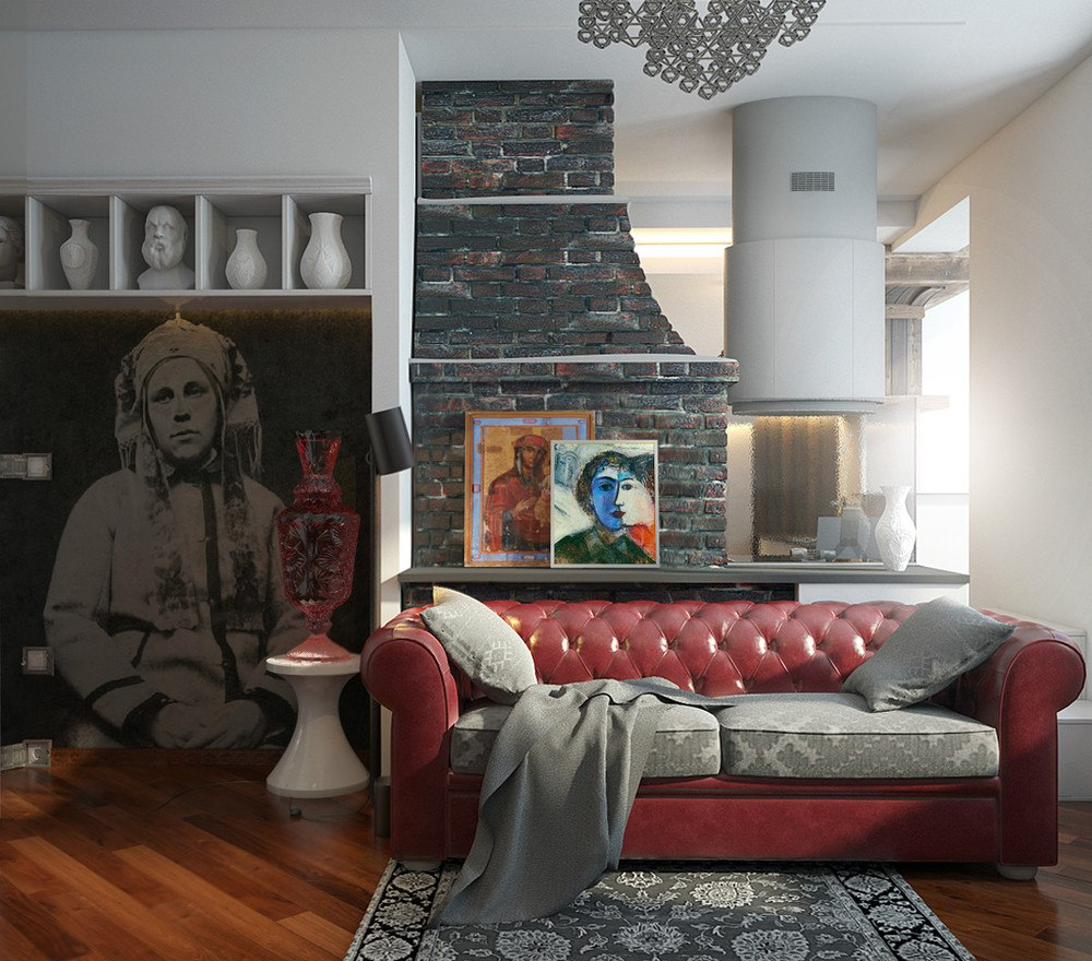 Проект квартиры 45,6 м со славянскими (белорусскими) мотивами.