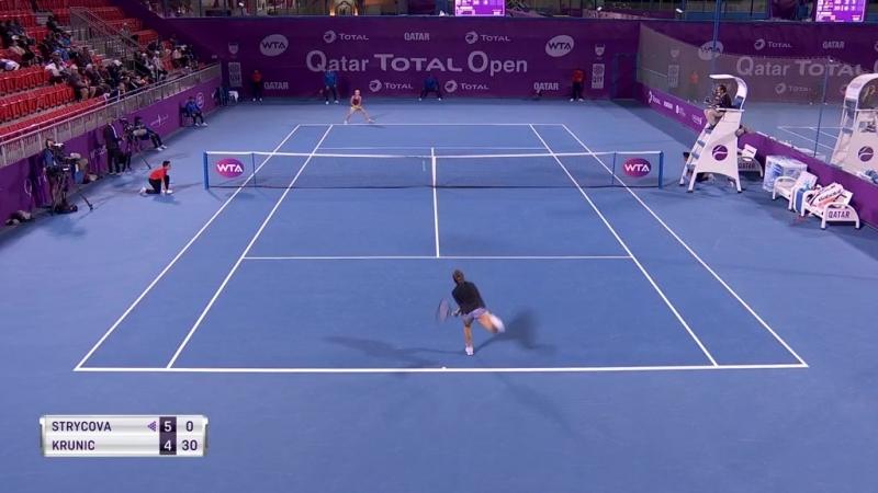 WTA Doha R1 2018 Strycova vs Krunic
