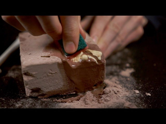 ASMR Excavation in a water-soaked block of plaster