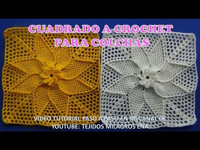 Cuadrado o muestra HOJAS EN ESPIRAL a crochet paso a paso para colchas o mantitas de bebe