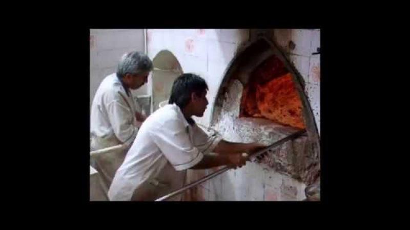 Sangak سنگک bread factory in Shiraz شیراز, Iran