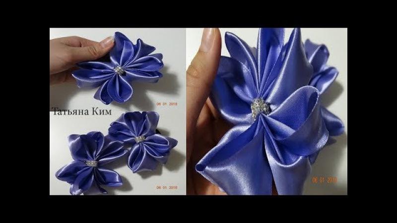 Бантики Канзаши за 5 минут/Банты из ленты 5 см/Bows Kanzashi in 5 minutes/Bows ribbon 5 cm
