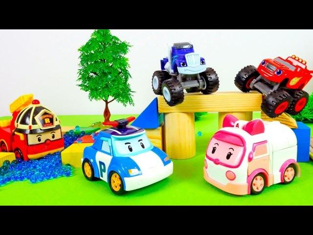 Blaze and Robocar Poli cars race on a track.