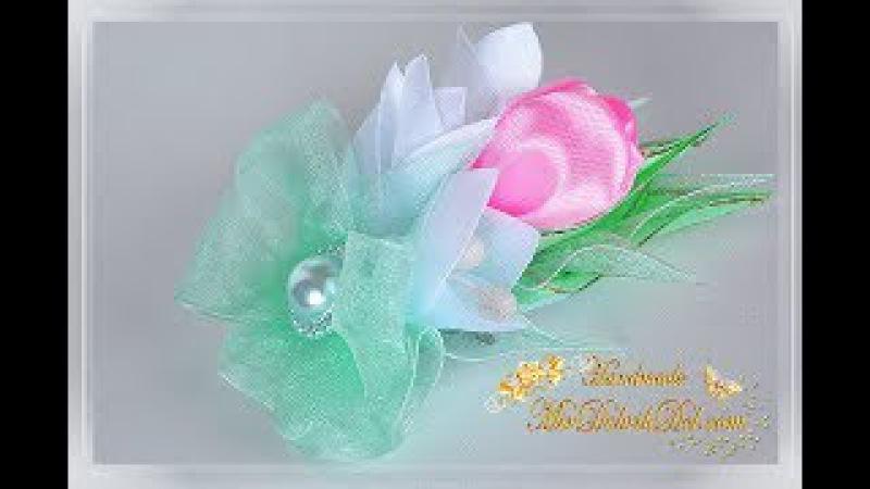 ПОДАРОК на 8 МАРТА магнит брошка канзаши своими руками 🌷 Gift on March 8
