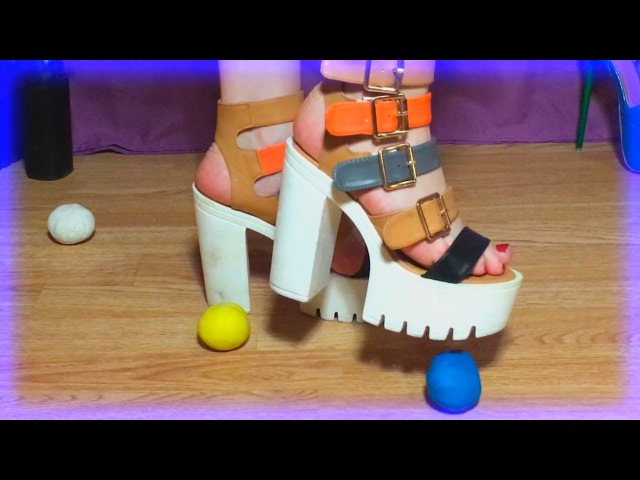 Plasticine crush barefoot and with high heels sandals