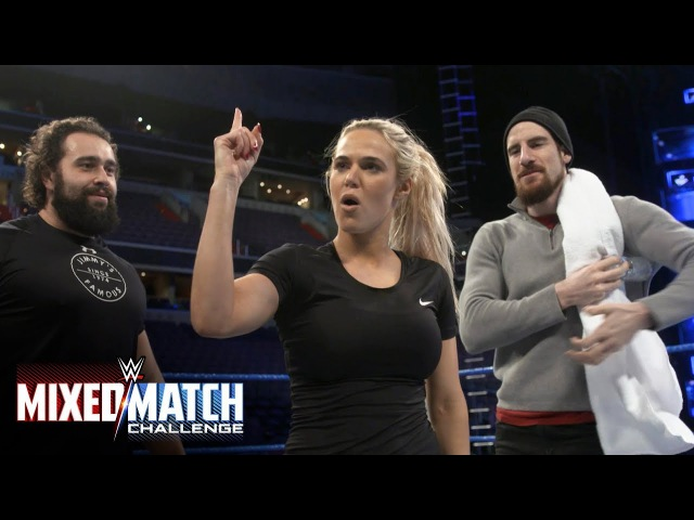 Lana loses control during a WWE Mixed Match Challenge training session with Rusev and Aiden English