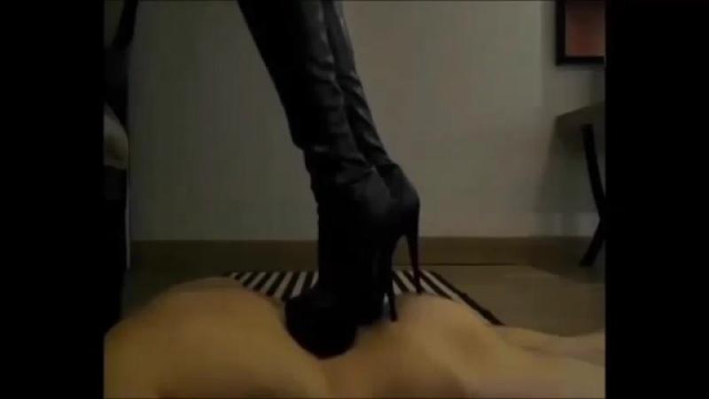 Turkish Misstress Reina trampling torturing her slave under high heel boots ❤