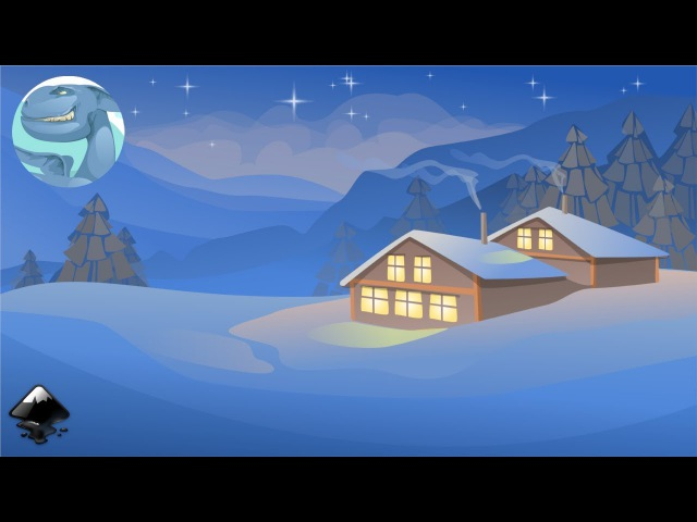 How to draw a winter landscape with a house in Inkscape