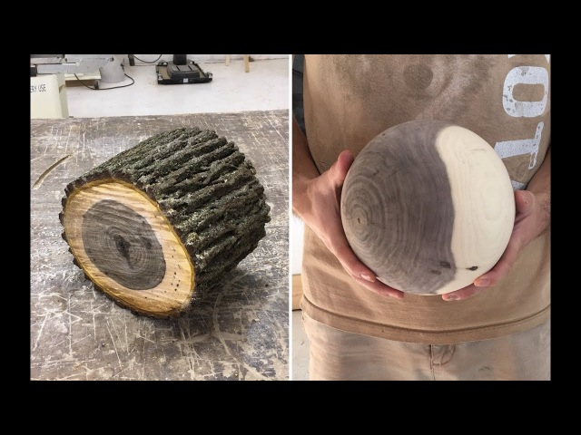 Wood-turning a large sphere from a walnut log