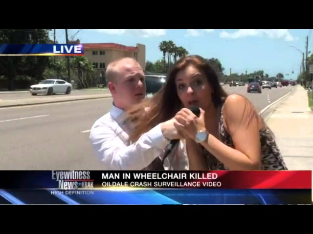A male reporter is interrupted by a girl on LIVE TV FMRITP