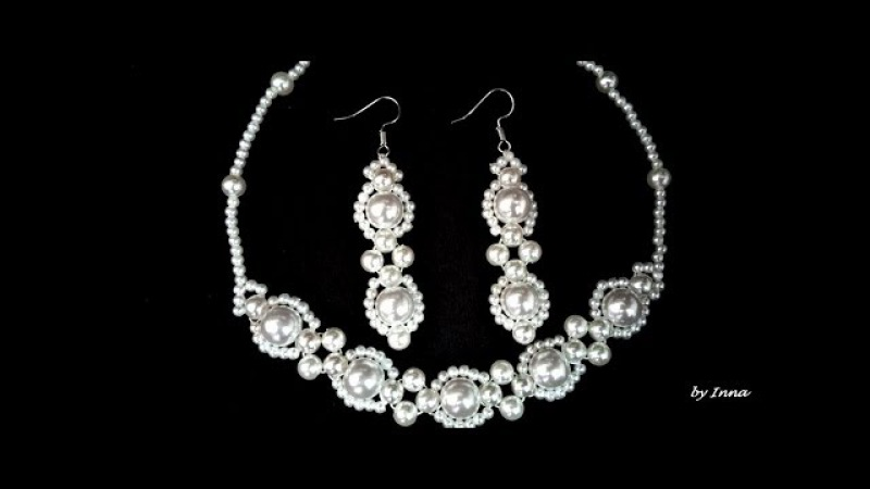 How to make stylish pearl necklace and earrings set