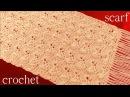 Bufanda o chalina tejida en punto abanicos entrecruzados a Crochet o Ganchillo