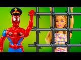 Куклы Барби Попала в Тюрьму Человек Паук Полицейский мультик видео с игрушками игры для девочек