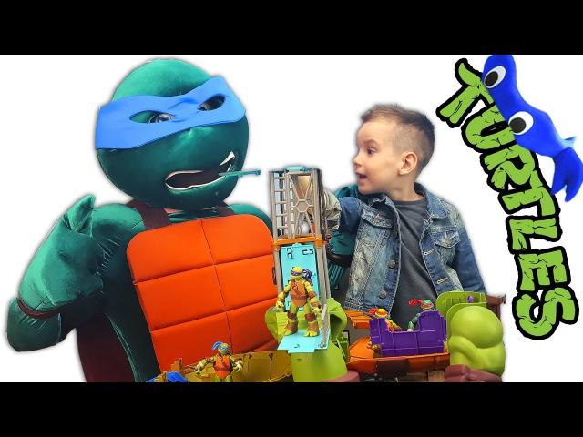 СУПЕР Набор ЧЕРЕПАШКИ НИНДЗЯ МУТАЦИИ Леонардо Трансформер 60 см 30 функций Nick Turbo Ninja Turtles