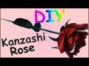 DIY Kanzashi Rose Blume aus Stoff Valentinstag Ribbon flower Valentines day