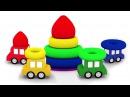 4 carros coloridos Uma piramide Desenho animado