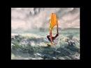 Серфинг Акварель гуашь Рисуем волны Переносим картину Serfing watercolour gouache