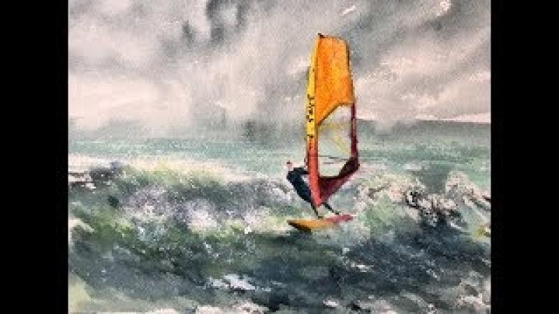 Серфинг. Акварель гуашь! Рисуем волны. Переносим картину.Serfing, watercolour gouache.