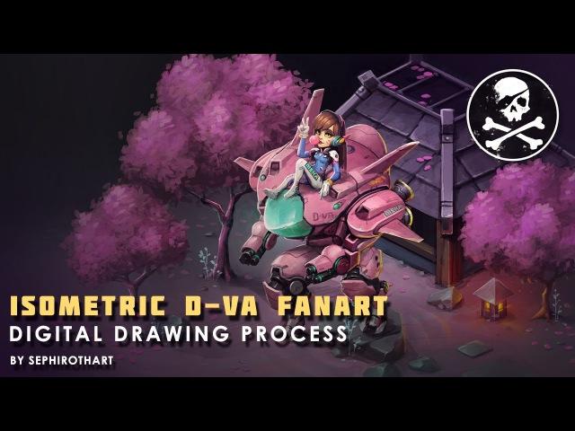 [ Sephiroth Art ] ISOMETRIC D.VA FANART ● Digital Drawing Photoshop