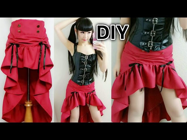 DIY Easy Steampunk Inspired Outfit   DIY Low High Ruffle Steampunk Skirt