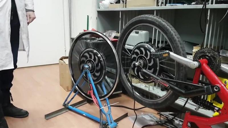 Сравнение свободного выбега асинхронного мотор-колеса Дуюнова и безредукторного BLDC