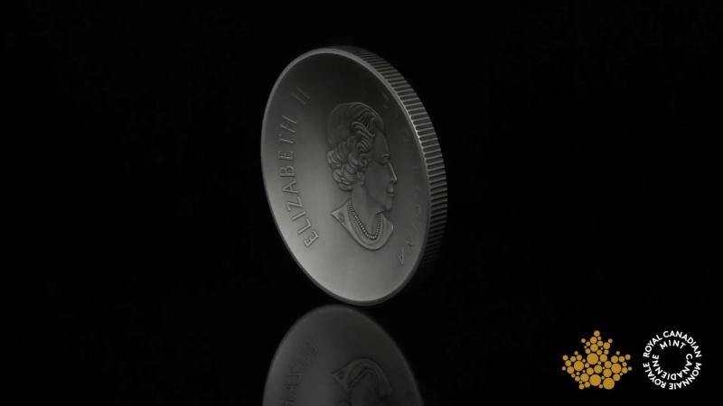То впуклый (incused), по выпуклый!) 5 oz. Pure Silver Convex Coin - Maple Leaves in Motion